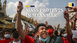 Weekend rally in Myanmar sees tens of thousands protest against military coup