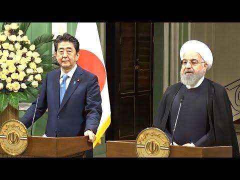 安倍首相とイランのロハニ大統領が共同記者発表