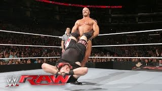 Cesaro vs. Kevin Owens - Winner Faces The Miz for the Intercontinental Title: Raw, April 11, 2016