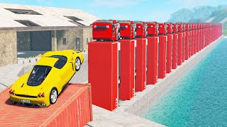 Beamng drive - Cars Domino effect Crashes, Jumps #7