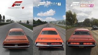 Forza 4 vs Forza 7 vs Forza Horizon 4 - 1970 Mercury Cougar Eliminator Sound Comparison