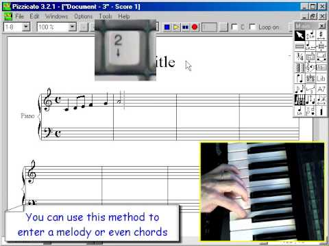 Music education software - Entering the notes with the keyboard