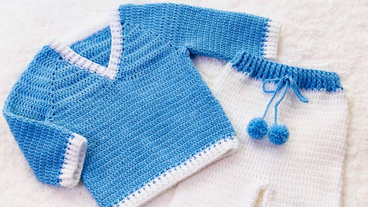 Jersey, suéter para niños y niñas a crochet paso a paso fácil para principiantes VARIAS TALLAS