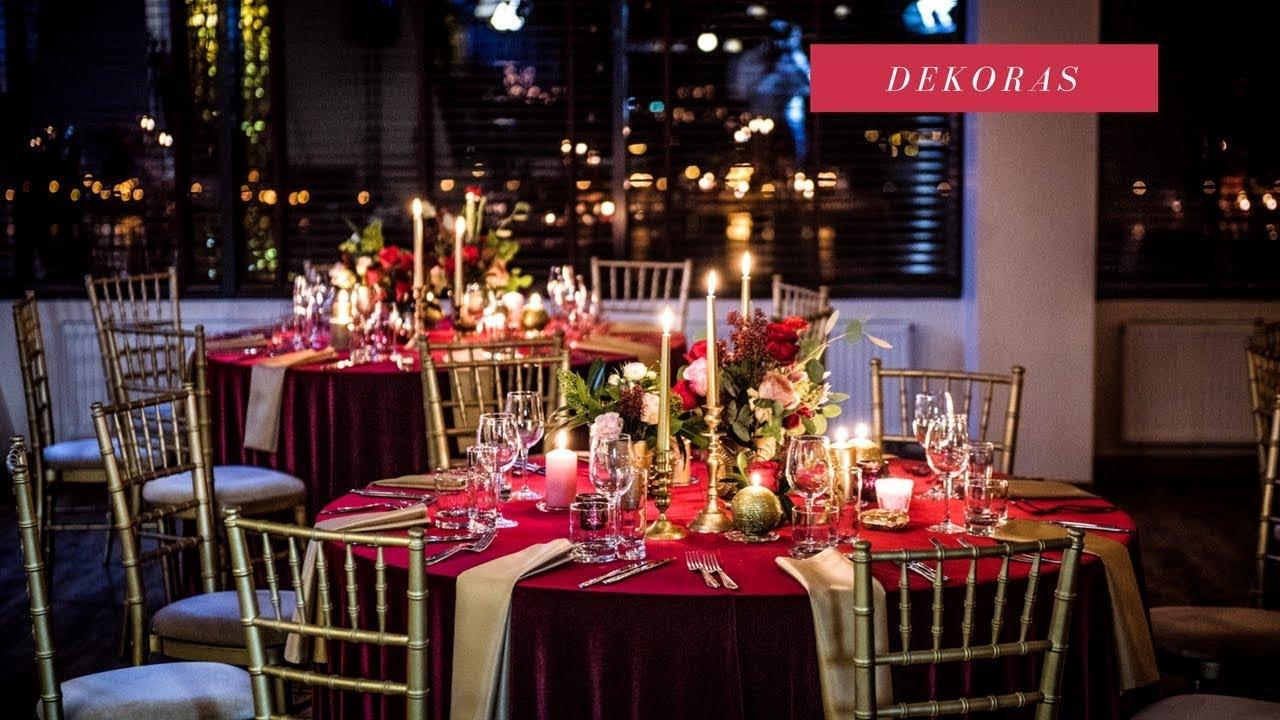 Raudonas, auksinis vestuvių dekoras. Wedding decoration - red, gold -  YouTube