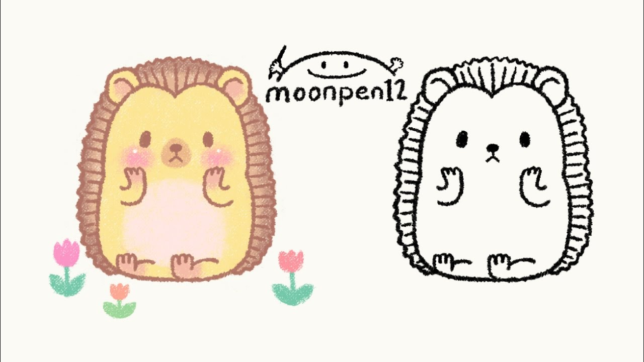 how to draw a hedgehog so cute step by step