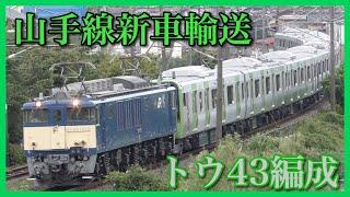 【山手線新車】E235系トウ43編成出場配給輸送・越後石山駅〜亀田駅