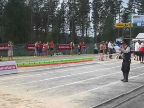 Wife Carrying Championships 2012 @ Sonkajärvi - Winners Taisto Miettinen & Kristiina Haapanen