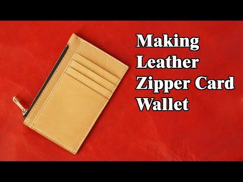 47 [Leather craft] Making Zipper Card Wallet / [가죽공예] 지퍼 카드지갑 만들기 / Free Pattern