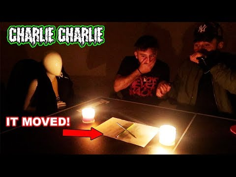 (CHARLIE IS ALIVE) PLAYING CHARLIE CHARLIE PENCIL CHALLENGE WITH CHARLIE THE MANNEQUIN AT 3 AM