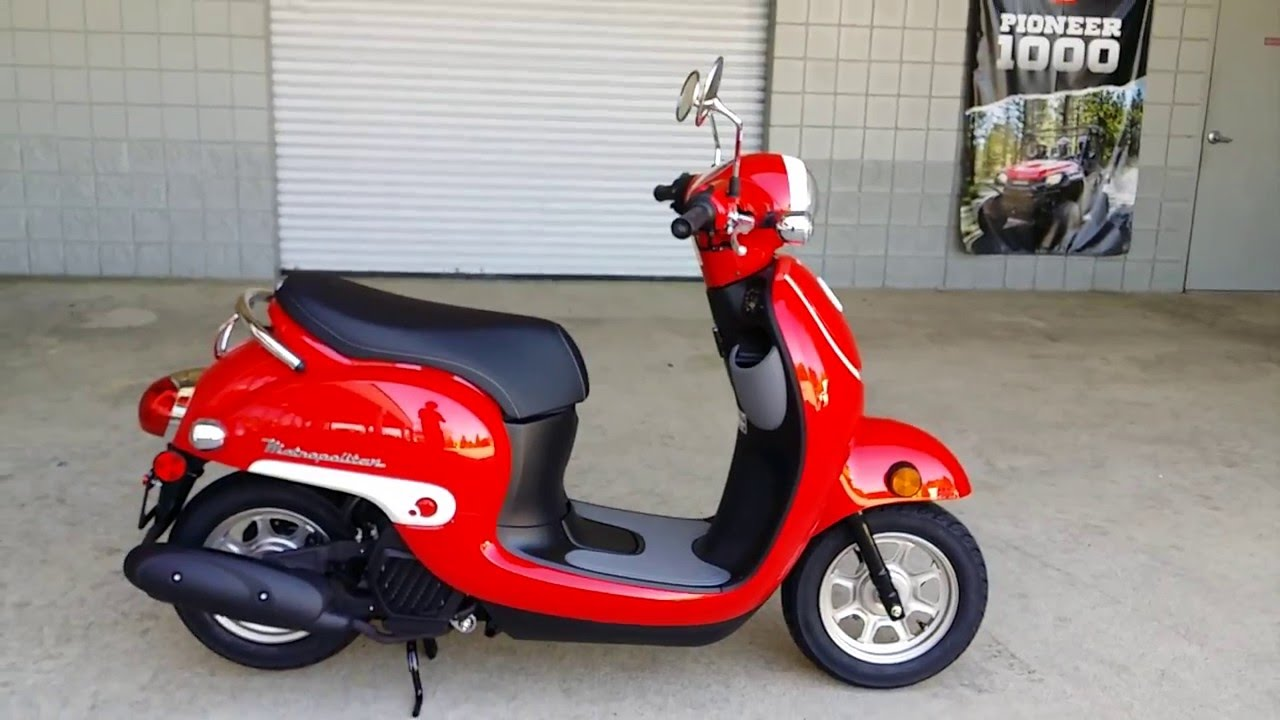 2016 honda metropolitan 50cc scooter red walk around video review at. Black Bedroom Furniture Sets. Home Design Ideas