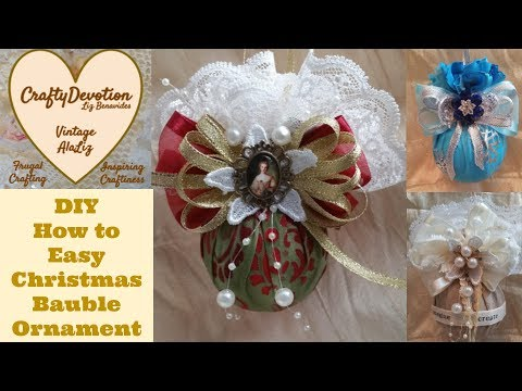 Diy Easy, Lace Fabric Christmas Bauble ornament. fabric crafts, how to make, shabby chic