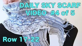 Knitted Daily Sky Scarf Project, Video #4 - Rows 17-22 (4 Righties)