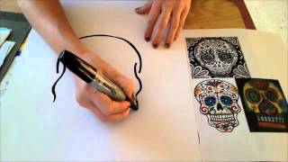 How to draw a Skull- Dia de los Muertos