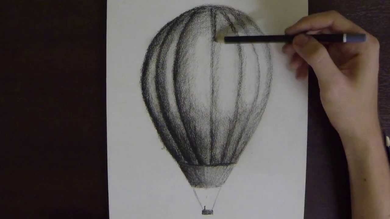 hot air balloon in charcoal on paper time lapse youtube