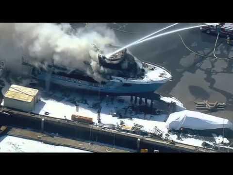Chula Vista Boat (The Polar Bear) Fire - June 19, 2014 - No Sound Raw Video