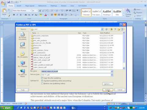 How to create a .pdf using Word 2007