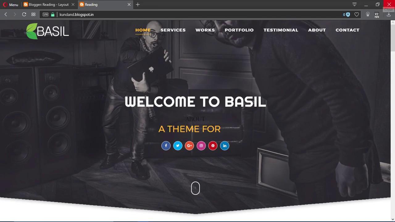 how to install basil portfolio responsive blogger template youtube