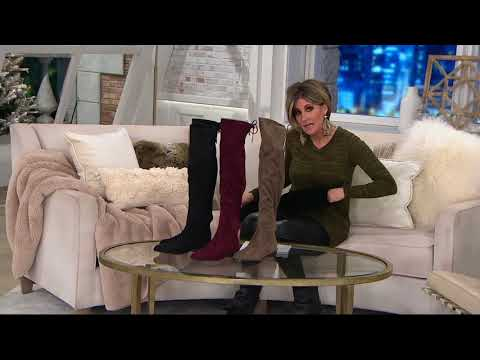 Marc Fisher Faux Suede or Velvet Over-the-Knee Boots - Hulie on QVC