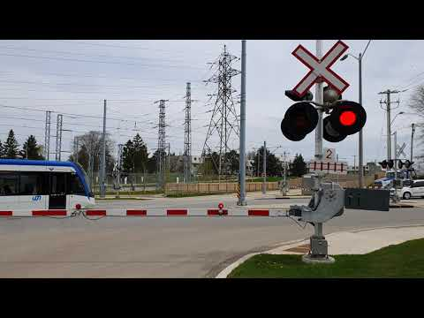 ION train - tram crossing Kitchener ON - May 19, 2020