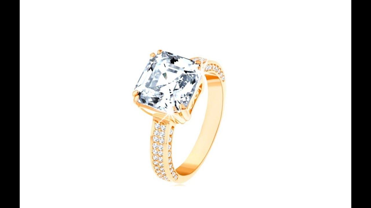 29c6771ca Luxusní zlatý prsten 585 - velký broušený zirkon v ozdobném kotlíku,  zirkonové linie | Šperky Eshop
