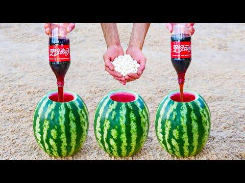 Experiment :Coca Cola and Mentos vs Watermelon