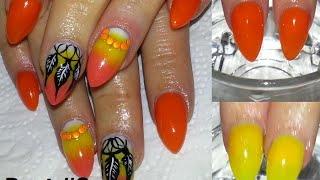 Dreamcatcher Neon Ombre Almond Acrylic Nails + Review On Madam Glams Chameleon Gels #2