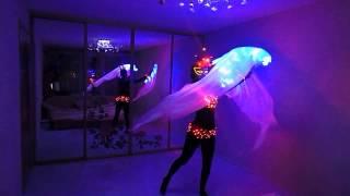 Светодиодный костюм и светодиодные веера-вейлы на заказ.