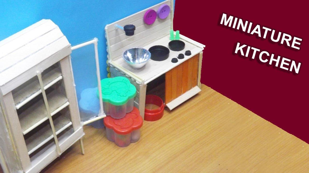 Diy Miniature Kitchen Dollhouse Furniture Popsicle Stick Crafts