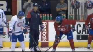 P.K. Subban vs. Brendan Gallagher at practice 26-09-2015 Montreal Canadiens