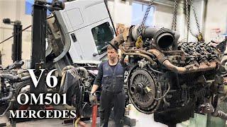 OM501 V6 MERCEDES 1.7 МЛН ПРОБЕГ - ПЕРВЫЙ КАПИТАЛЬНЫЙ РЕМОНТ ДВИГАТЕЛЯ МЕРСЕДЕС АКТРОС / РАЗБОРКА видео