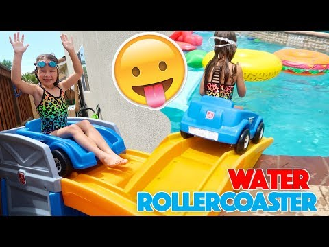 GIANT WILD ROLLER COASTER POOL PARTY! 🎢 Kids VS Parents!