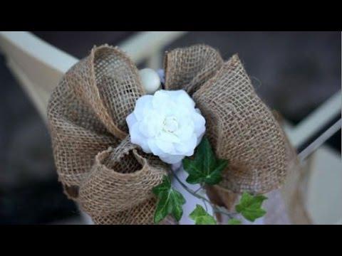 burlap-wedding-pew-bows