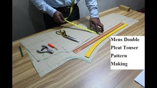 Men's Double Pleated Trouser Pattern Making ! How to Make Men Pant Pattern