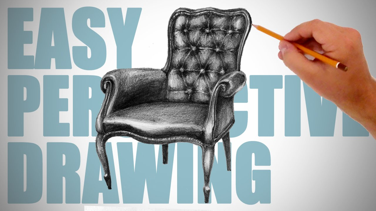 How To Draw A Chair Easy Perspective Drawing 7 Youtube