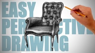 How to draw a chair - Easy Perspective Drawing 7