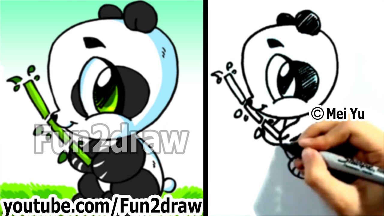 How To Draw A Cartoon Panda  Cute Pandas  Kawaii Panda Bear  Fun2draw  Chibi Art Drawing  Youtube