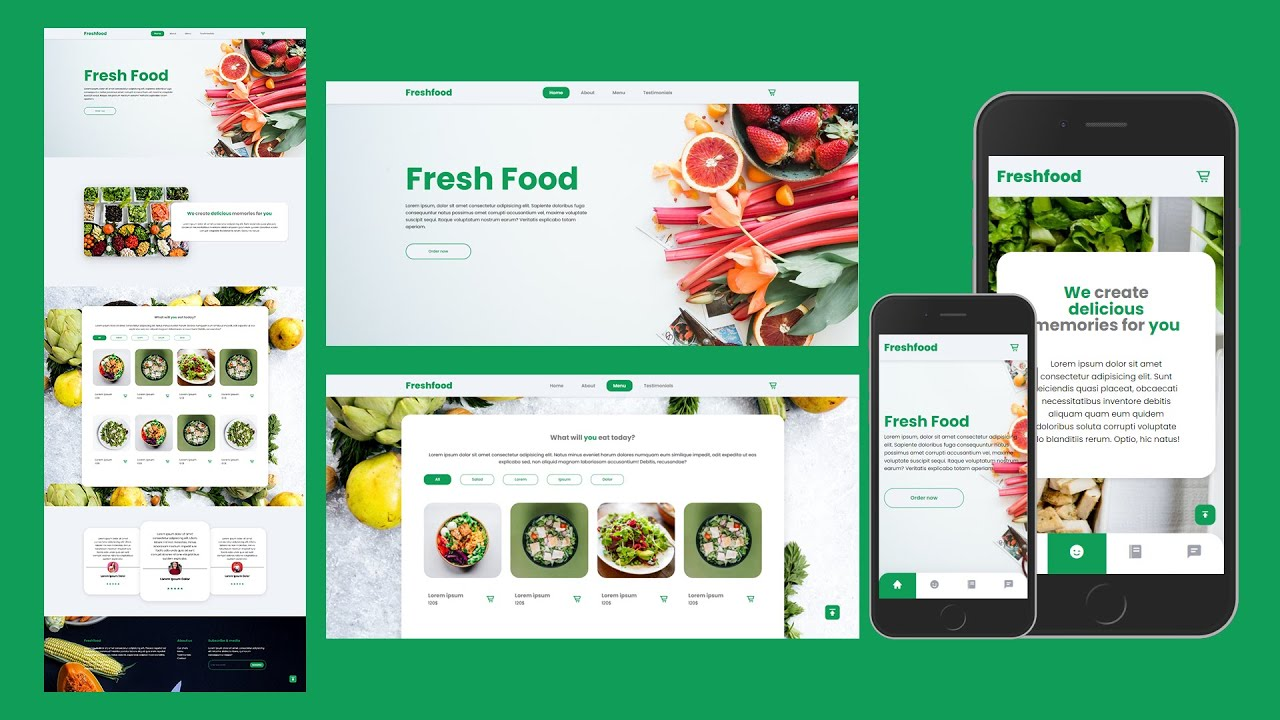 Responsive Food Landing Page Using HTML CSS Javascript - How To Make A Website Using HTML And CSS