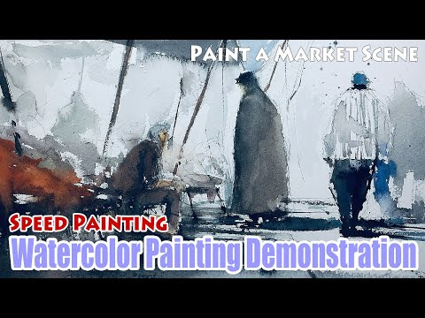 Watercolor Painting Demo/Tutorial (42) – Speed/Loose Figure Landscape Painting / 水彩画 人物 風景 描き方 塗り方