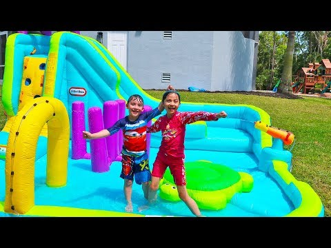 Hailey Pretend Play with Inflatable Princess Toy and Water Slide Obstacle Course!
