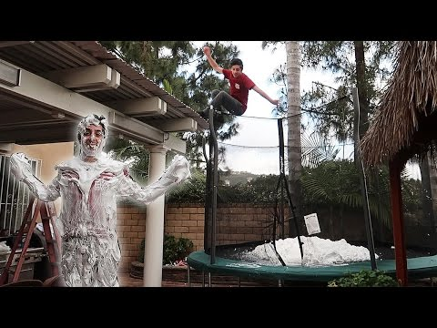 TRAMPOLINE VS SHAVING CREAM!! (HUGE EXPLOSION)