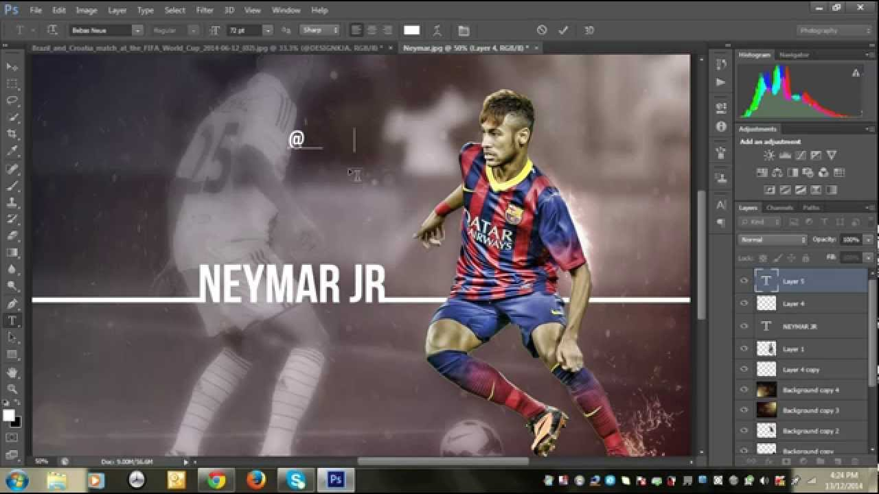sport wallpaper tutorial using photoshop || neymar - youtube