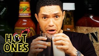 Trevor Noah Rides A Pain Rollercoaster While Eating Spicy Wings  Hot Ones