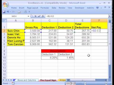 excel basics 3 formulas w cell references youtube