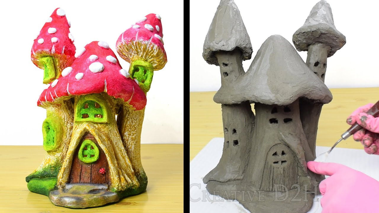 DIY Concrete Toadstools Fairy House | Cement Project You Can Make at Home | Cement Fairy Garden Lamp
