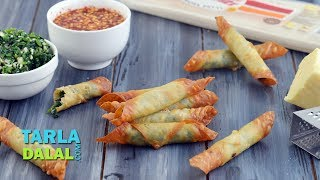 Spinach Cheese Cigars with Honey Chilli Sauce by Tarla Dalal