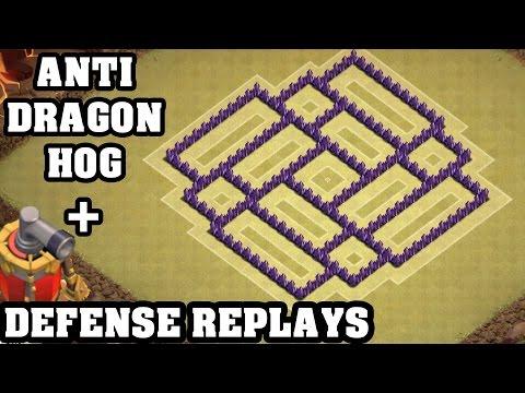 Clash of Clans - Town hall 7 (Th7) War Base + Defense REPLAY - ANTi Dragon ANTi Hog Strategy