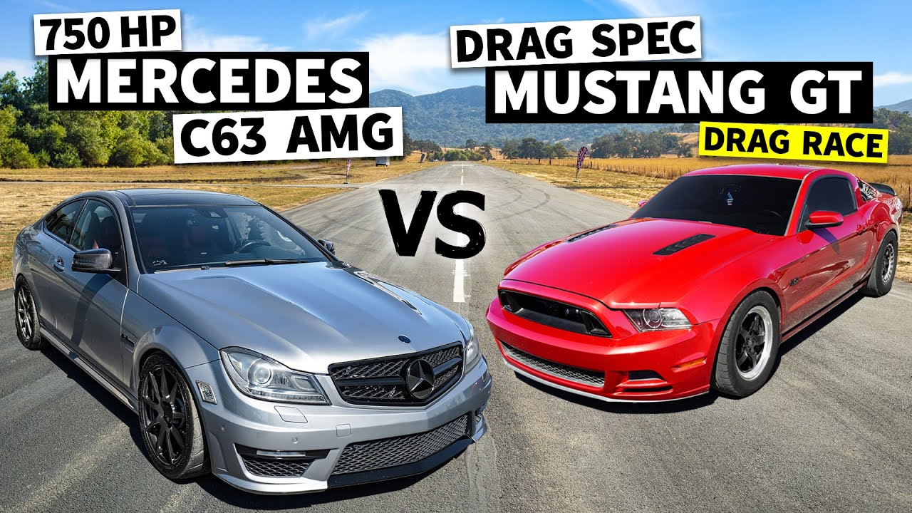 750hp C63 AMG Faces a Twin Turbo Mustang on Big Slicks // This vs. That