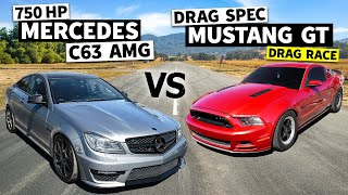 homepage tile video photo for 750hp C63 AMG Faces a Twin Turbo Mustang on Big Slicks // This vs. That