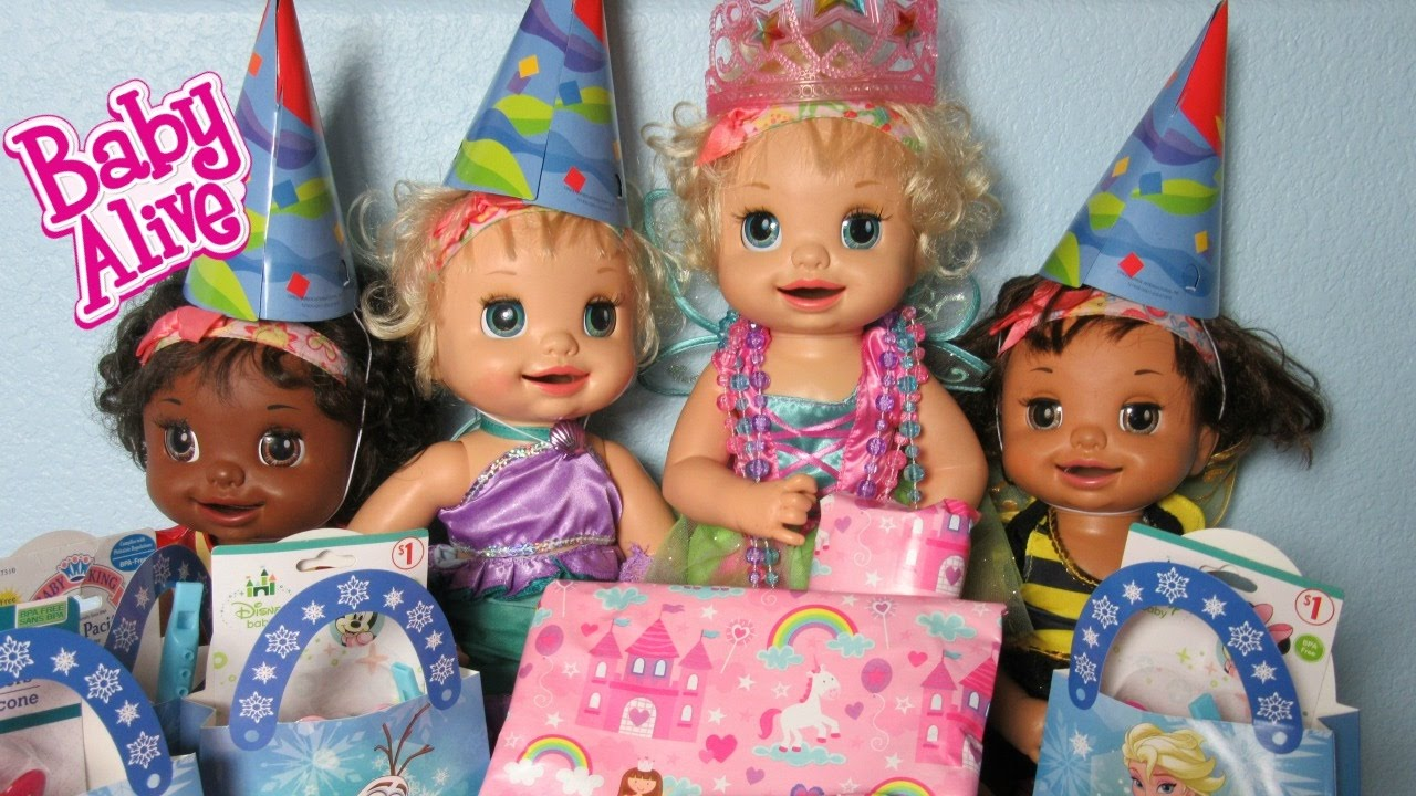 baby alive learns to doll lacey u0026 39 s surprise frozen birthday party  presents and cupcakes