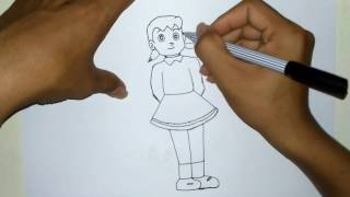 How to Draw Shizuka From Doraemon Step By Step